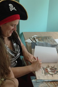 Kari-Lynn Winters signs copies of Bad Pirate