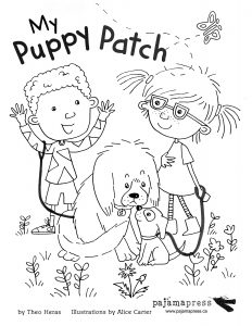 A colouring sheet featuring two children and their dogs playing outside