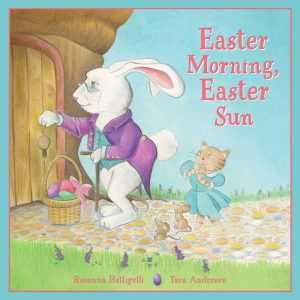 A white rabbit with a purple jacket, half-moon glasses, and a woven basket full of colorful easter eggs knocks on the door of a treehouse. A little brown kitten in a blue dress waits behind him with eagerness and excitement on her face.