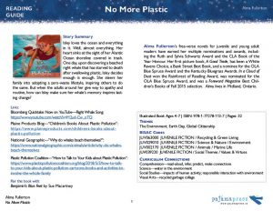 The first page of a teaching guide for the picture book No More Plastic