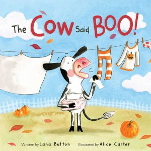 A black and white spotted cow stands on her hind legs, holding a box of tissues in one arm and a single kleenex in the other. She stands in front of a clothesline on a bright day with a jack-o-lantern pajama set on the line. Fall leaves and a pumpkin are on the ground.